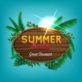 Signe de remise de vente d'été grand Image libre de droits