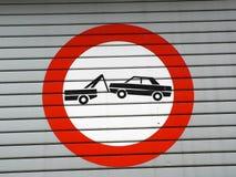Signe de remorquage de véhicule Photographie stock
