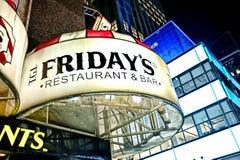 Signe de restaurant de Times Square Photos stock