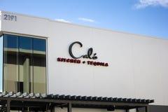 Signe de restaurant de la cuisine et de la tequila de la calorie photographie stock libre de droits