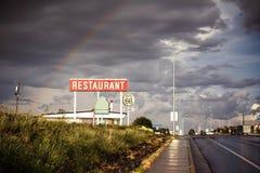 Signe de restaurant le long de Route 66 Photo libre de droits