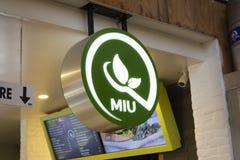 Signe de restaurant de Miu photographie stock libre de droits