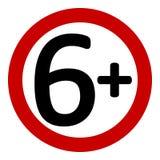 signe de restriction de 6 âges illustration libre de droits