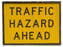 Signe de risque du trafic en avant Photographie stock libre de droits