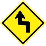 Signe de risque jaune avec les courbes dangereuses illustration de vecteur