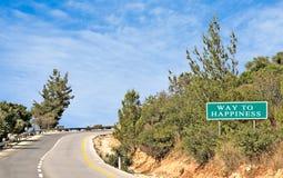 Signe de route au bonheur Image stock