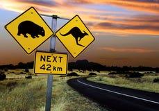 Signe de route australien photographie stock libre de droits