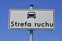 Signe de route avec le véhicule Image stock