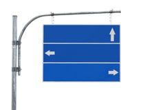 Signe de route blanc, flèche trois d'isolement Photographie stock