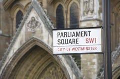 Signe de route carré du Parlement Londres Images libres de droits