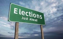 Signe de route d'élection Photos stock