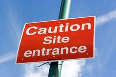 Signe de route d'entrée de site Photographie stock libre de droits