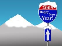 Signe de route d'an neuf heureux image stock