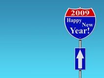 Signe de route d'an neuf heureux Images stock