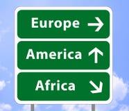 signe de route de 2 continents illustration stock