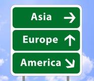 signe de route de continents illustration de vecteur