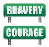 Signe de route de courage et de courage Photo libre de droits