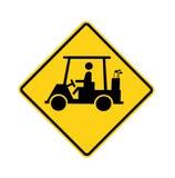 signe de route de golf de croisement de chariot Photographie stock libre de droits