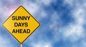 Signe de route de jours ensoleillés en avant Photographie stock libre de droits