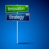 Signe de route de sens de stratégie d'innovation. Images libres de droits