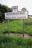 Signe de route de Silverstone Photographie stock libre de droits