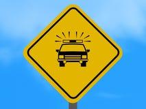 Signe de route de véhicule de police Photos libres de droits