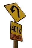 signe de route du détour 401k Images stock