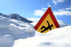 Signe de route extérieur glissant Image stock