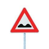 Signe de route inégal avec Pôle d'isolement sur le blanc photo stock