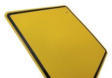 Signe de route jaune blanc Photographie stock libre de droits