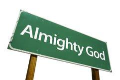 Signe de route tout-puissant de Dieu Photo libre de droits