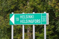 Signe de route vers Helsinki Photo libre de droits