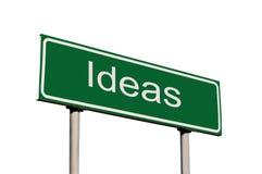 Signe de route vert de bord de la route d'idées d'isolement images libres de droits