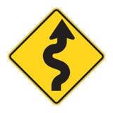 Signe de route - zigzag Photographie stock