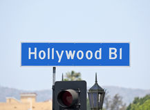 Signe de rue de Hollywood Bl Images libres de droits