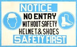 Signe de sécurité fabriqué à la main Images libres de droits