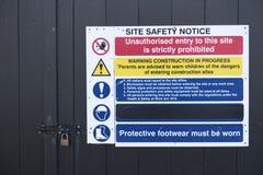 Signe de santé de bâtiment de construction d'avis de sécurité de site photos stock