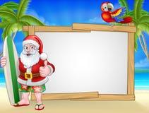 Signe de Santa Claus Surf Beach Christmas Background illustration de vecteur