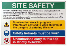 Signe de sécurité de site Photo stock