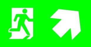 Signe de secours/sortie sans texte sur le fond vert pour standar photo stock