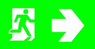 Signe de secours/sortie sans texte sur le fond vert pour standar photographie stock libre de droits