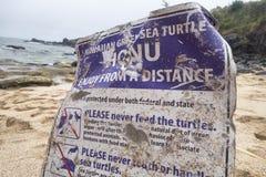 Signe de Shorline fédéral et lois de conservation de tortue de mer d'état et photo libre de droits