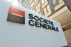 Signe de Societe Generale aux sièges sociaux de NY Images libres de droits