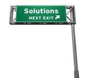 Signe de sortie d'autoroute de solutions Photo stock