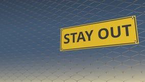 Signe de SORTIE de SÉJOUR un grillage contre le ciel, animation 3D illustration stock
