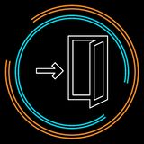 Signe de sortie de secours, icône de porte de sortie illustration de vecteur