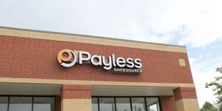 Signe de source de chaussure de Payless image libre de droits