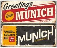 Signe de souvenir de voyage de Munich Allemagne illustration libre de droits