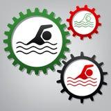 Signe de sport aquatique de natation Vecteur Trois vitesses reliées avec l'IC illustration libre de droits