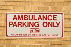 Signe de stationnement d'ambulance Image libre de droits